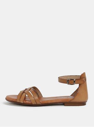 698c71f20137 Hnedé kožené sandálky OJJU