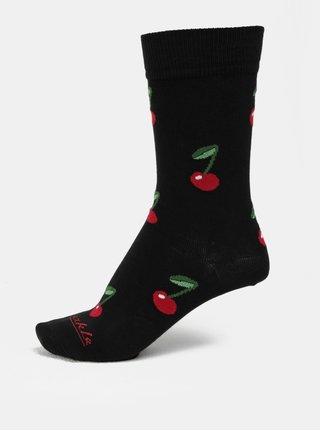 Sosete unisex rosu-negru cu model Fusakle Cirese noaptea