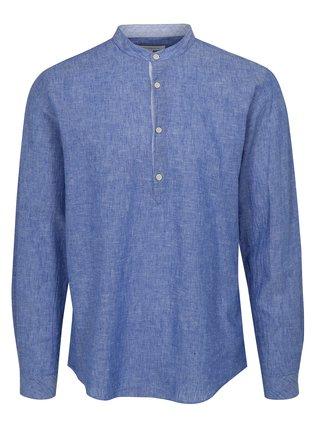 Modrá ľanová košeľa s dlhým rukávom Lindbergh
