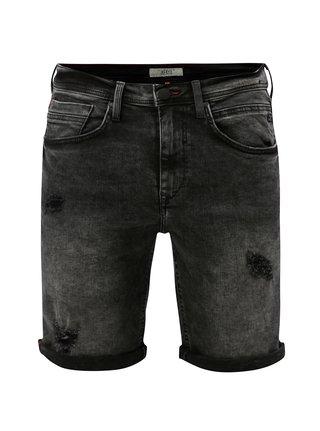 Černé džínové slim fit kraťasy s vyšisovaným efektem Blend