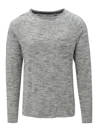 Krémovo-modrý melírovaný tenký slim fit sveter Blend