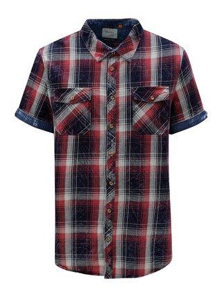 Modro-vínová kostkovaná slim fit košile Blend