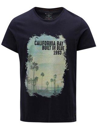 Tricou albastru inchis regular fit cu print Blend
