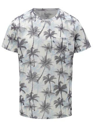 Bílo-modré slim fit tričko s motivem palem Blend