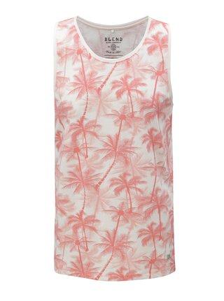 Maiou alb-rosu regular fit cu model de palmieri Blend