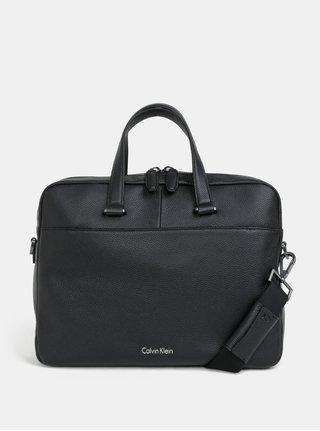 """Čierna pánska kožená taška na notebook Calvin Klein Jeans 15"""""""