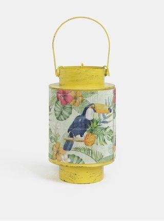 Žltý malý kovový lampáš s bambusom a motívom tukana Kaemingk