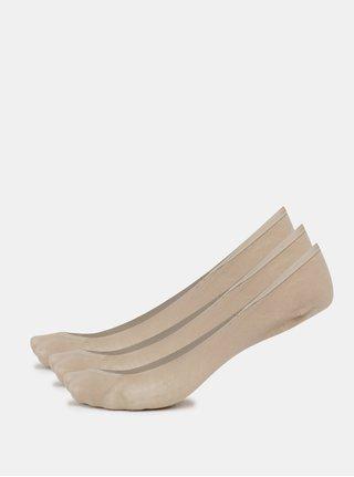 Kolekcia troch párov bavlnených nízkych ponožiek v telovej farbe Bellinda