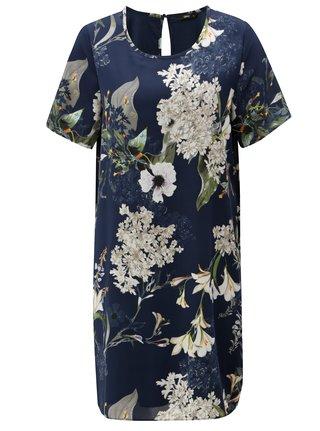 Tmavě modré květované šaty ONLY Alma