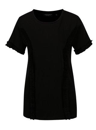 Čierne tričko s krátkym rukávom a volánmi Dorothy Perkins