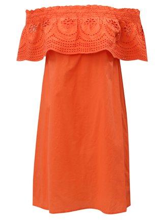 Oranžové šaty s odhalenými rameny a madeirou Dorothy Perkins