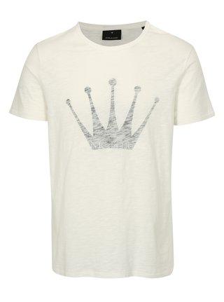 Krémové pánské tričko s potiskem Junk de Luxe