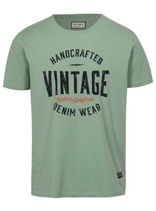 Tricou verde deschis cu imprimeu Vintage Shine Original