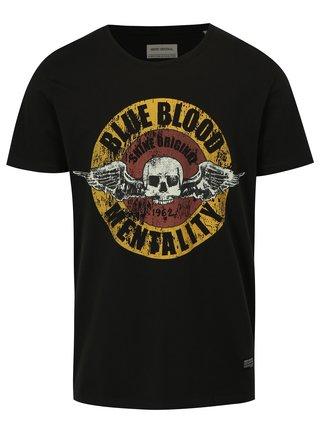 Tricou negru cu imprimeu craniu Shine Original