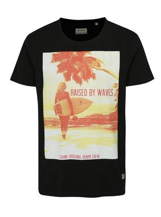 Tricou negru cu imprimeu de vara Shine Original