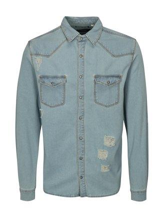 Camasa albastru deschis de blugi cu efect rupt Shine Original