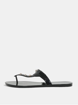 Papuci flip-flop negri luciosi cu detalii aurii Zaxy Spike