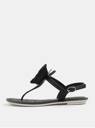 Čierne sandálky s aplikáciou motýľa Grendha Sense II