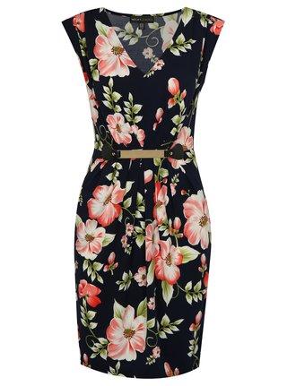 Tmavomodré kvetované šaty s kovovou aplikáciou Mela London