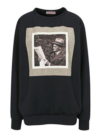 Černá unisex mikina s nášivkou La femme MiMi Děda