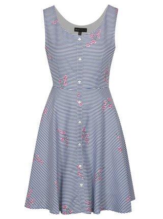 Bielo–modré pruhované šaty s gombíkmi Mela London