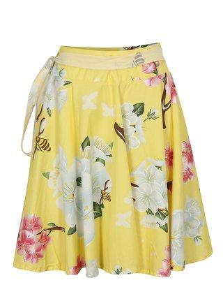 Žlutá květovaná zavinovací sukně La femme MiMi