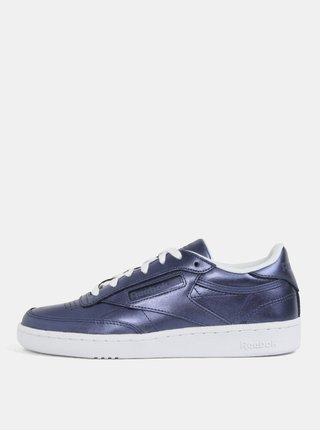 Tmavě modré dámské metalické kožené tenisky Reebok Club C 85
