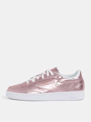 Ružové dámske metalické kožené tenisky Reebok Club C 85 dcb8e3e251f