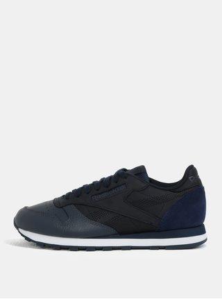 Černo-modré pánské kožené tenisky Reebok Club