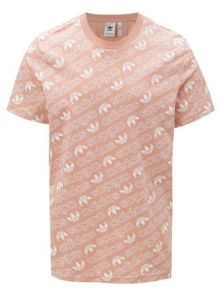 Tricou barbatesc roz prafuit cu print adidas Originals