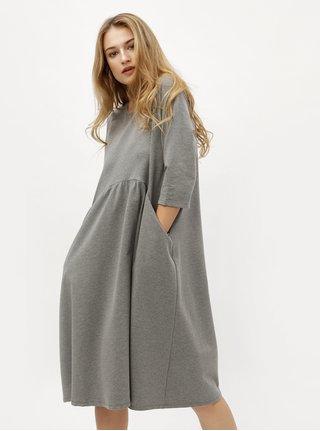Sivé voľné melírované šaty ZOOT