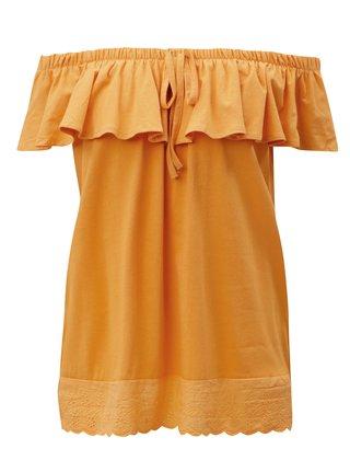 Oranžový top s odhalenými rameny a krajkou Blendshe Karodal
