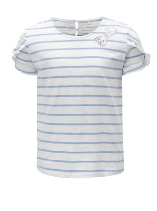 Modro-biele dievčenské pruhované tričko s nášivkou 5.10.15.