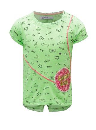 Neónovozelené vzorované dievčenské tričko 5.10.15.