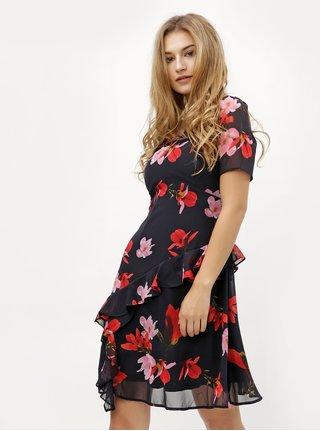 Tmavomodré kvetované šaty s volánom VERO MODA Katy