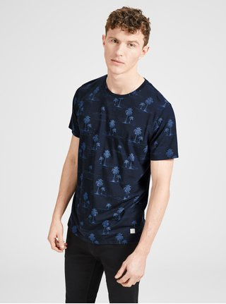 Tricou albastru inchis cu print Jack & Jones Jason