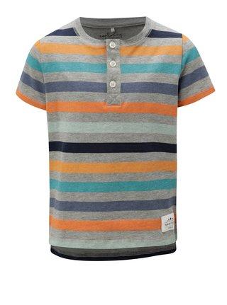 Sivé chlapčenské pruhované tričko s gombíkmi name it Jeppe