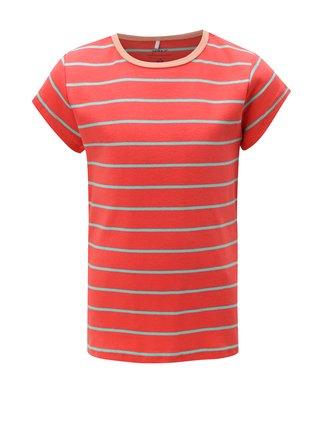Červené dievčenské pruhované tričko name it Verit