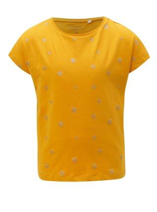 Horčicové dievčenské vzorované tričko name it Vilske