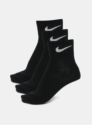 Set de 3 perechi de sosete scurte negre Nike