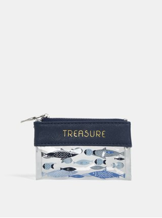 Tmavomodrá malá kozmetická taška na zips s potlačou rýb CGB