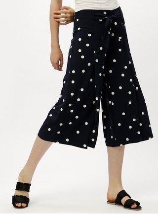 Pantaloni culottes alb-albastru cu talie inalta ONLY Michelle