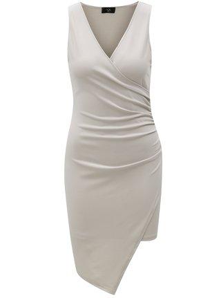 Sivé šaty s prekladaným výstrihom AX Paris 68958620e61