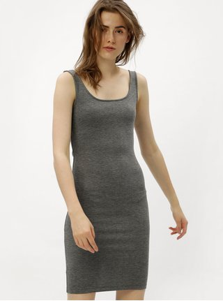 Šedé žíhané pouzdrové šaty s rozparkem ONLY Brenda