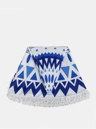 Modro-bílá vzorovaná kulatá plážová deka ZOOT
