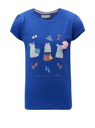 Modré dievčenské tričko s potlačou 5.10.15.