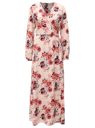 Rochie maxi roz deschis cu model floral VERO MODA Ane