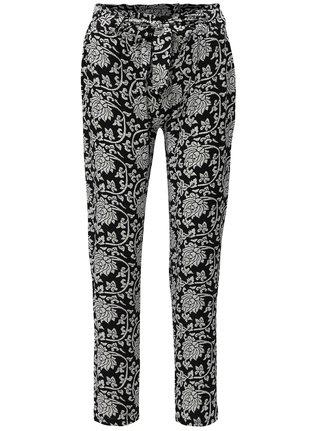 Bielo-čierne vzorované voľné nohavice vysokým pásom Haily's Ronja