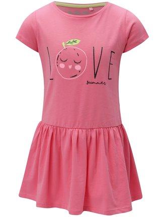 Ružové dievčenské šaty s potlačou 5.10.15.