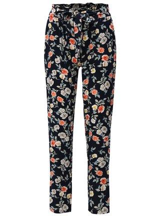 Pantaloni albastru inchis lejeri cu model floral si cordon Haily´s Ronja